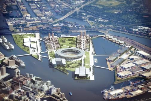 Olympiabewerbung HAmburg 2024 - Detailluftbild